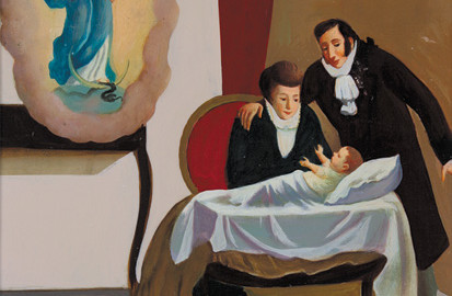 2. Dino Ferrari, La nascita del Venerabile Francesco Antonio, olio su tela, 1961, Museo-Biblioteca Francesco Antonio Marcucci